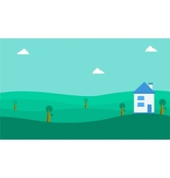 Landscape of house on the hill vector image