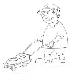 Lawn mower man contours vector