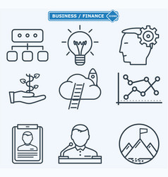 Line icons business people in a work process vector