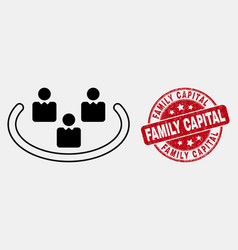 line social ring icon and scratched family vector image
