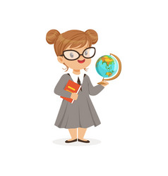 Little preschool girl dreaming to become geography vector