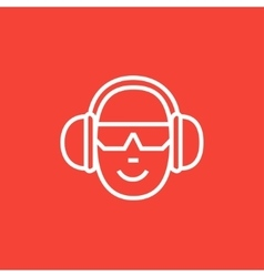 Man in headphones line icon vector image