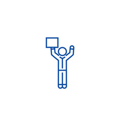 man with hands up and advertising line icon vector image