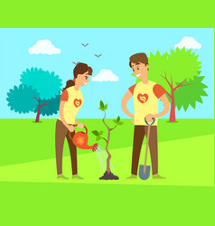 Man with shovel digging woman with watering can vector
