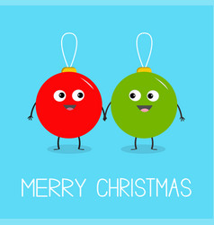 merry christmas ball toy icon set love couple vector image