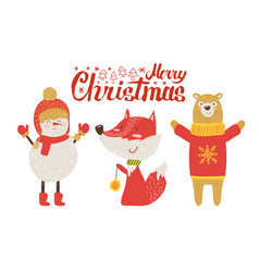 merry christmas postcard retro cartoon animals vector image