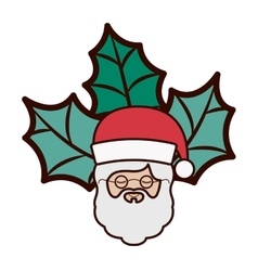 ornament with leaves Christmas and santa claus vector image