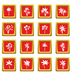 palm tree icons set red vector image