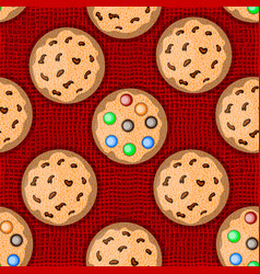 Pattern with cookies on red knitted background vector