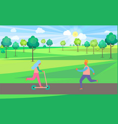 people on kick scooter and skate rollers in park vector image