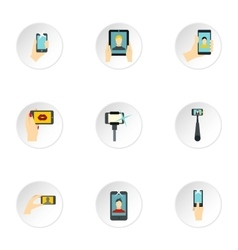 Photography on smartphone icons set flat style vector