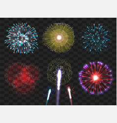 realistic colorful fireworks set vector image