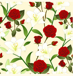 Red rose and white lily flower seamless christmas vector