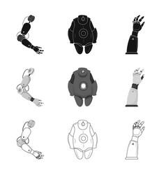 Robot and factory logo set vector