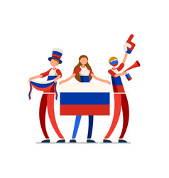 Russian flag russia people vector