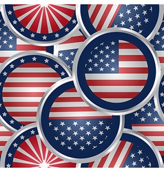 Seamless background with american flag web buttons vector image