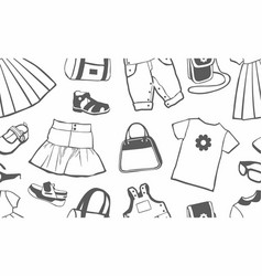 seamless pattern with female clothing vector image
