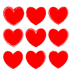 set of ink rough red hearts vector image