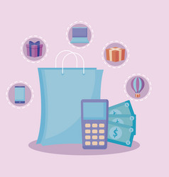 shopping bag with dataphone and set icons vector image