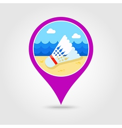 Shuttlecock badminton sport pin map icon Vacation vector image