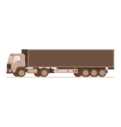 side view of brown warehouse weight delivery truck vector image