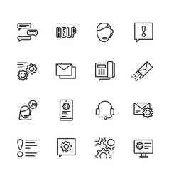 Simple icon set call center and technical support vector