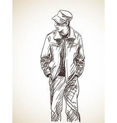sketch man with hands in his pockets hand drawn vector image
