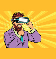 Smiling bearded hipsters in vr glasses vector