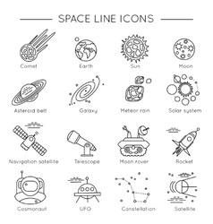 Space Universe Line Icon Set vector image