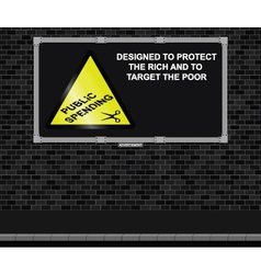 Spending cuts advertising board vector