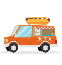 Street food van fast food delivery vector
