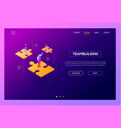 teambuilding concept - modern isometric web vector image