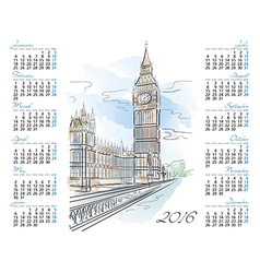 Template 2016 calendar with big ben vector