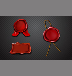 three red stamps approval in sealing wax vector image