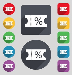 ticket discount icon sign A set of 12 colored vector image