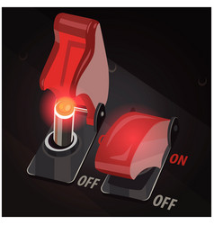 toggle switches on and off position vector image