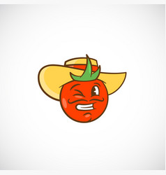 tomato in a hat abstract sign symbol or vector image