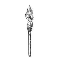 Torch decorative wooden stick with fire ink vector