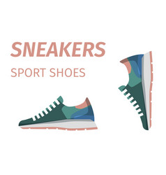 Trendy sneakers sport shoes isolated vector