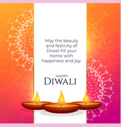 Vibrant diwali greeting design with mandala vector