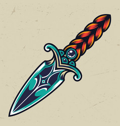 Vintage colorful dagger concept vector