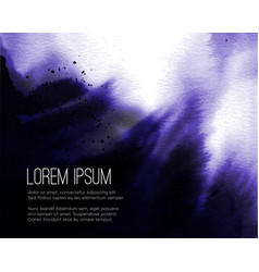 Violet ink wash painting on white background vector