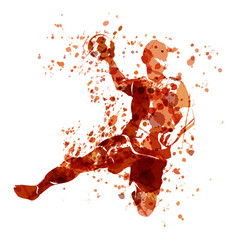 Watercolor sketch of a handball player vector