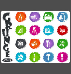 Work tools icons set in grunge style vector
