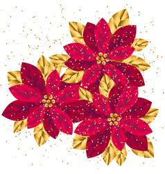 xmas luxury gold poinsettia decorative flowers vector image