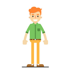 young happy redheaded guy in shirt and pants vector image