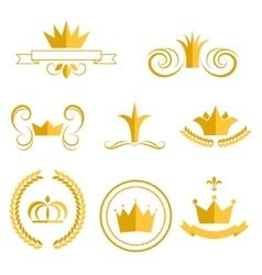 Gold crown logos and badges clip art set vector image
