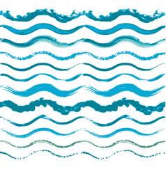 set of hand drawn seamless wave borders vector image vector image