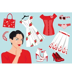 woman choose clothes vector image vector image