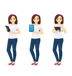 woman in jeans with tablet vector image vector image